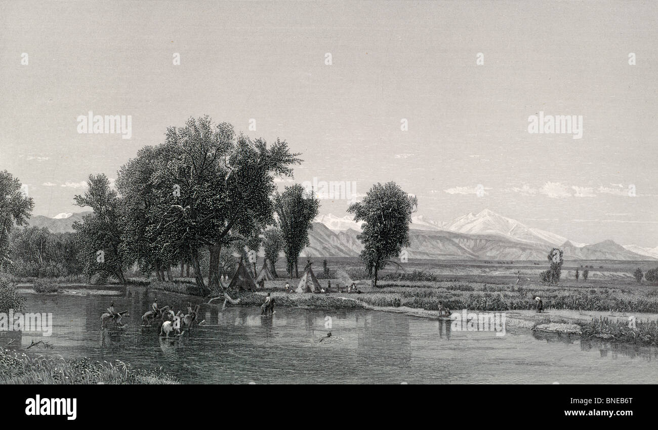The Rocky Mountains, etching - Stock Image