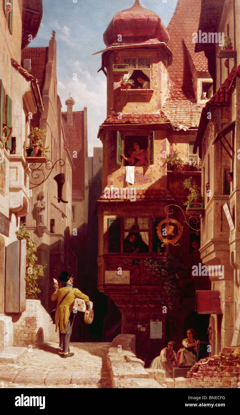 The Mailman in Rosenthal, by Carl Spitzweg 1808-1885 - Stock Image