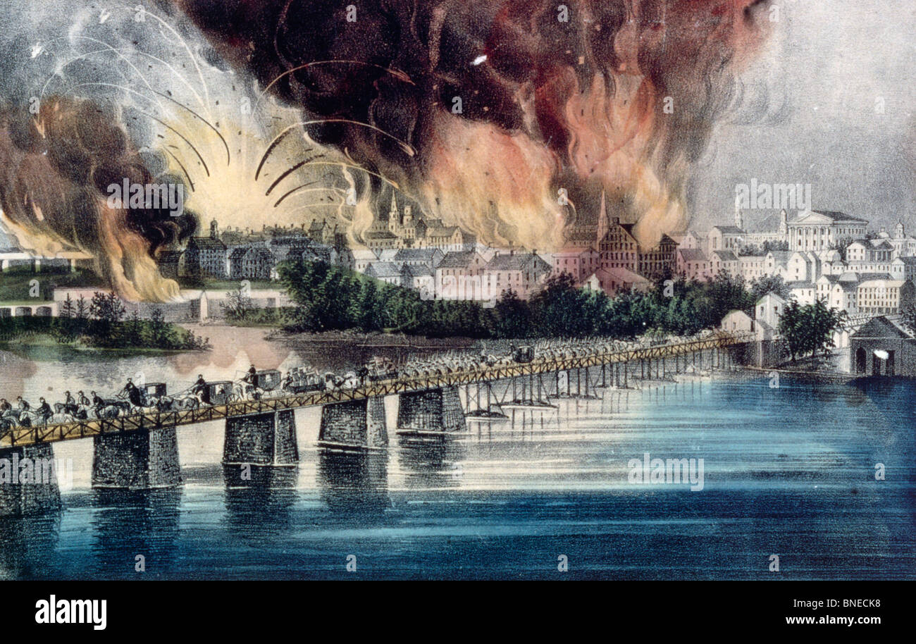 The Fall of Richmond on the Night of April 2nd 1865 from Currier & Ives color lithograph (1834-1907) USA Washington - Stock Image