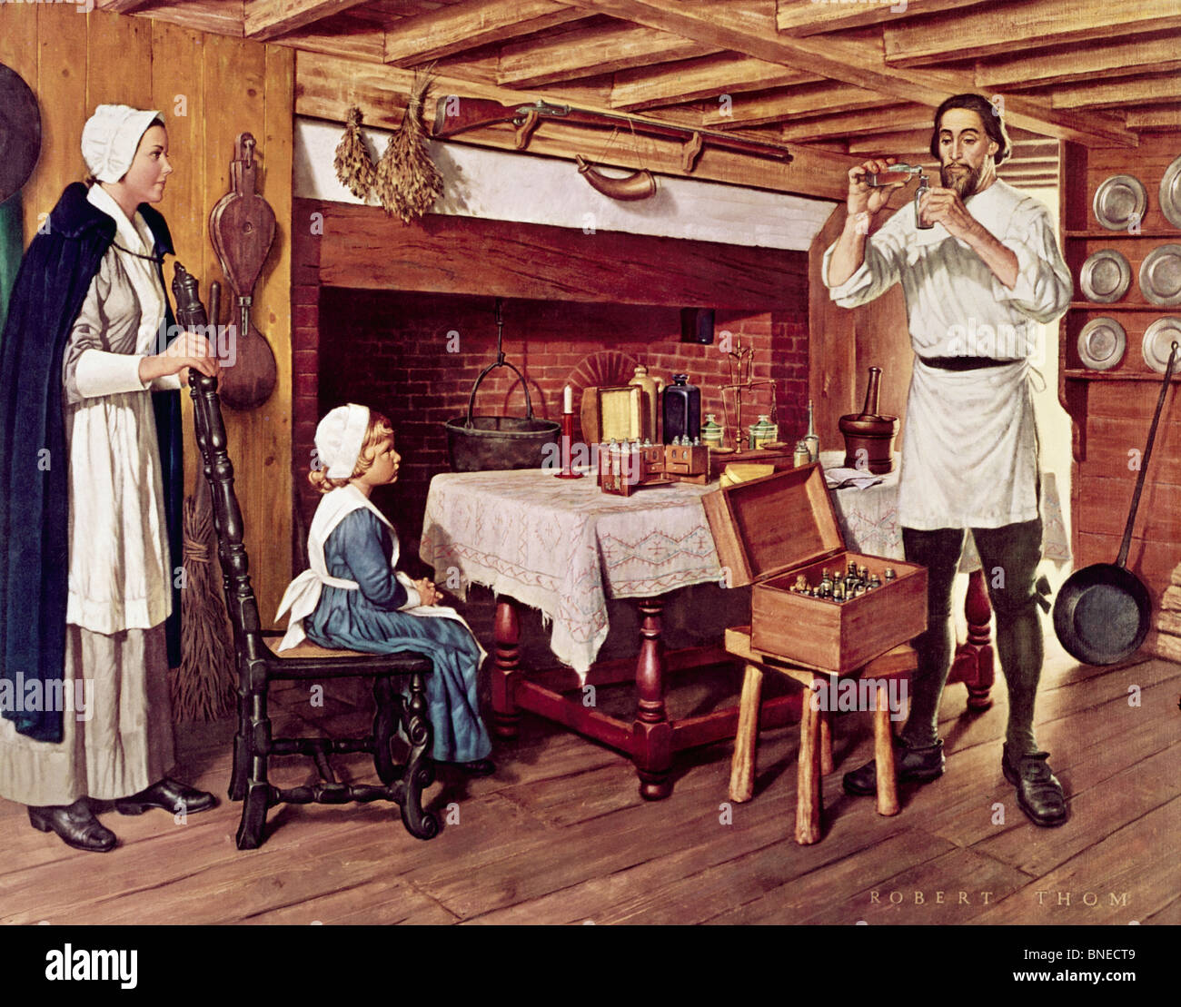Governor Winthrop of the Colony of Massachusetts Performing Apothecary Services in his Home by Robert Thom Stock Photo