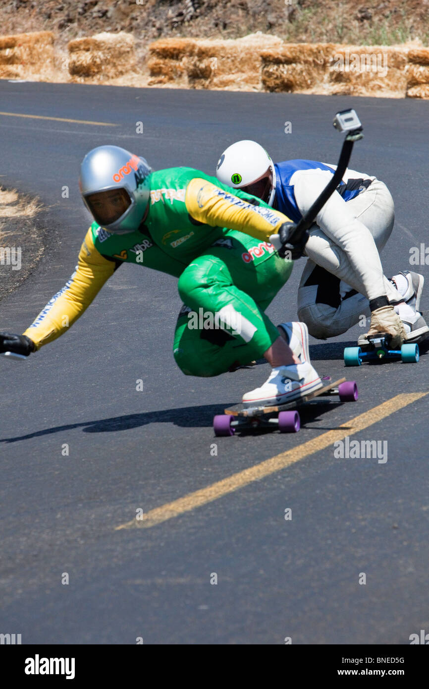 Skateboarders competing, IGSA World Cup Series. - Stock Image