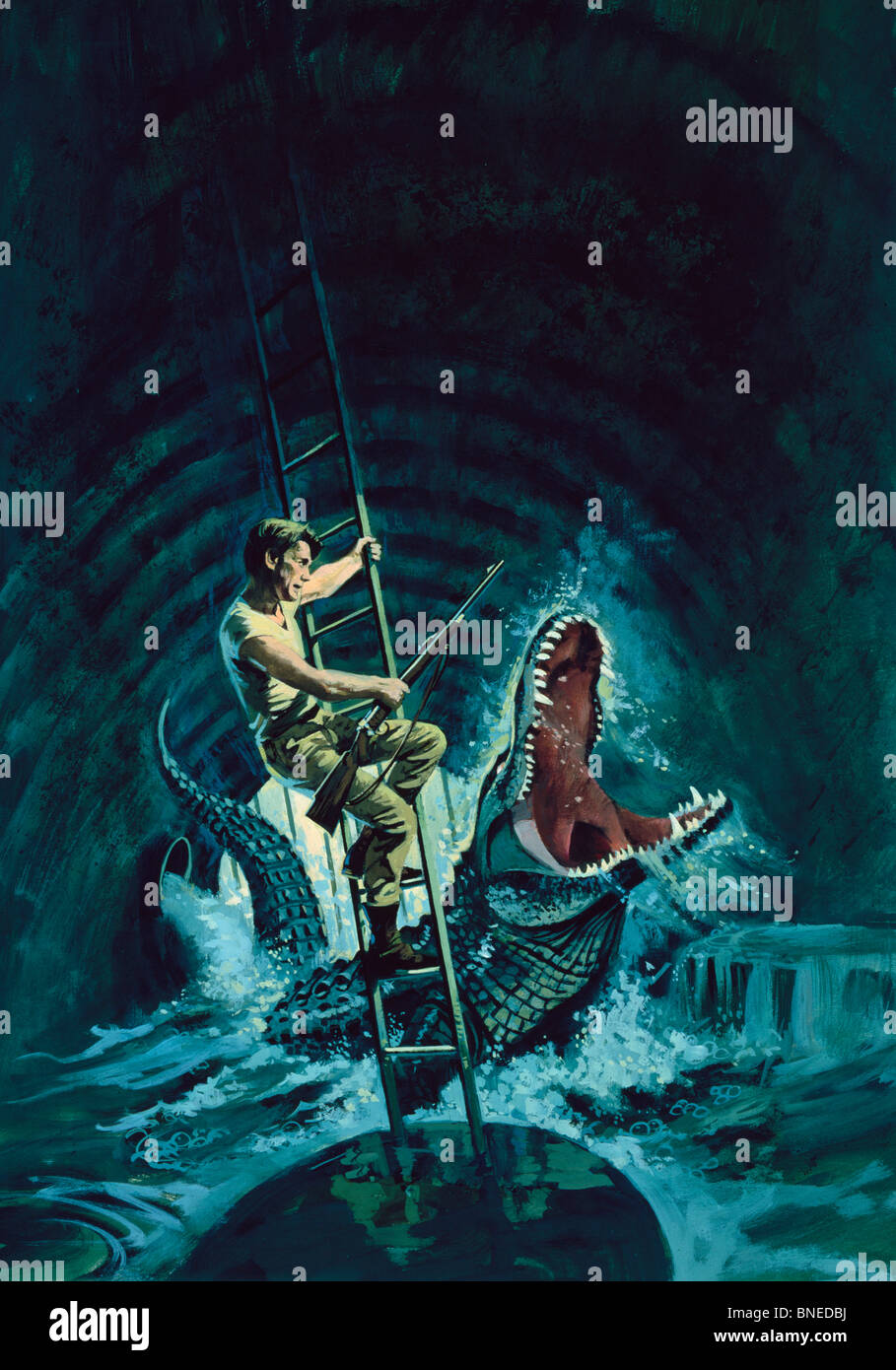 Man fighting with a giant crocodile in a drain - Stock Image