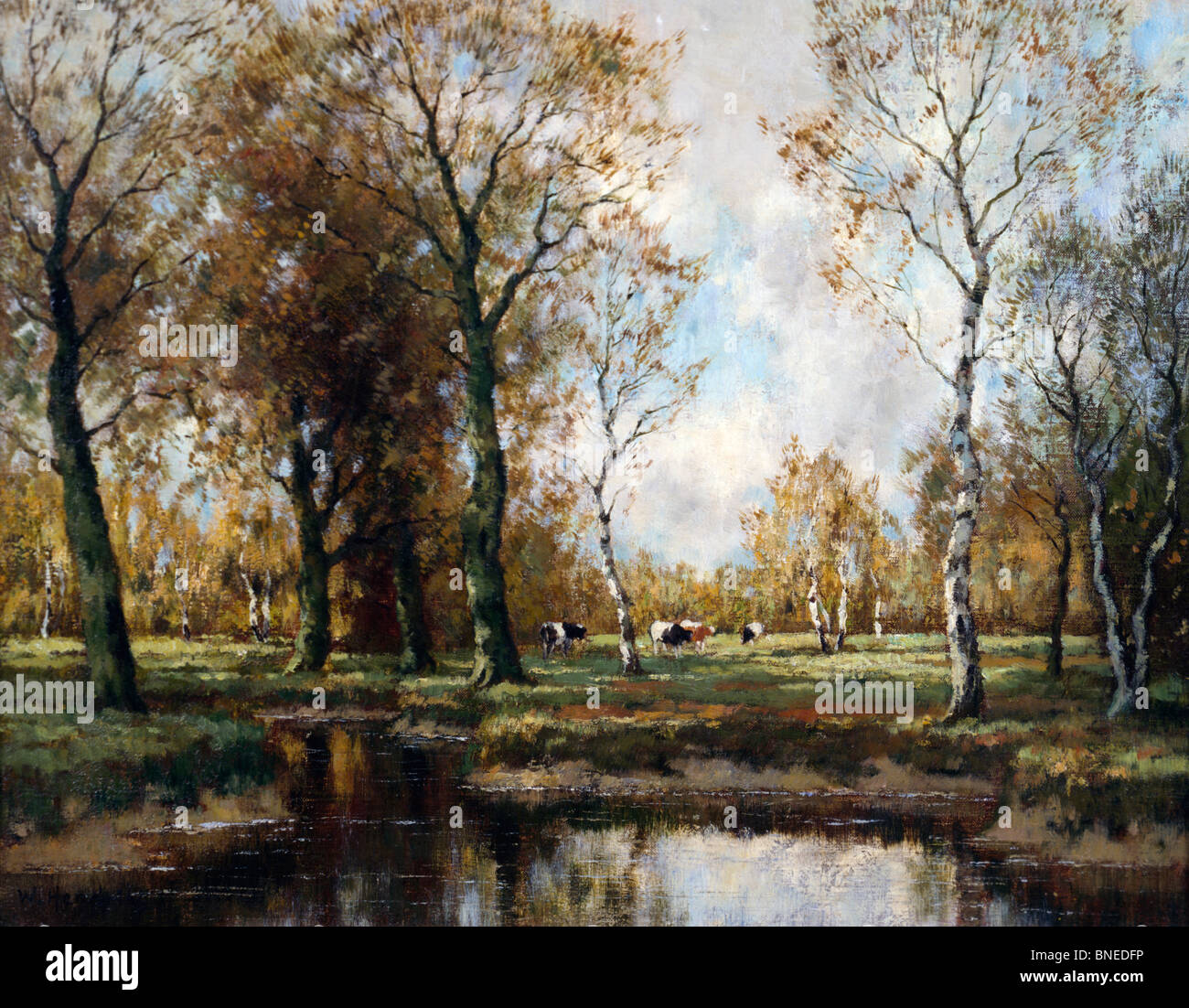 Wooded River Landscape, Hendricks, Willhem (19th C./Dutch) - Stock Image