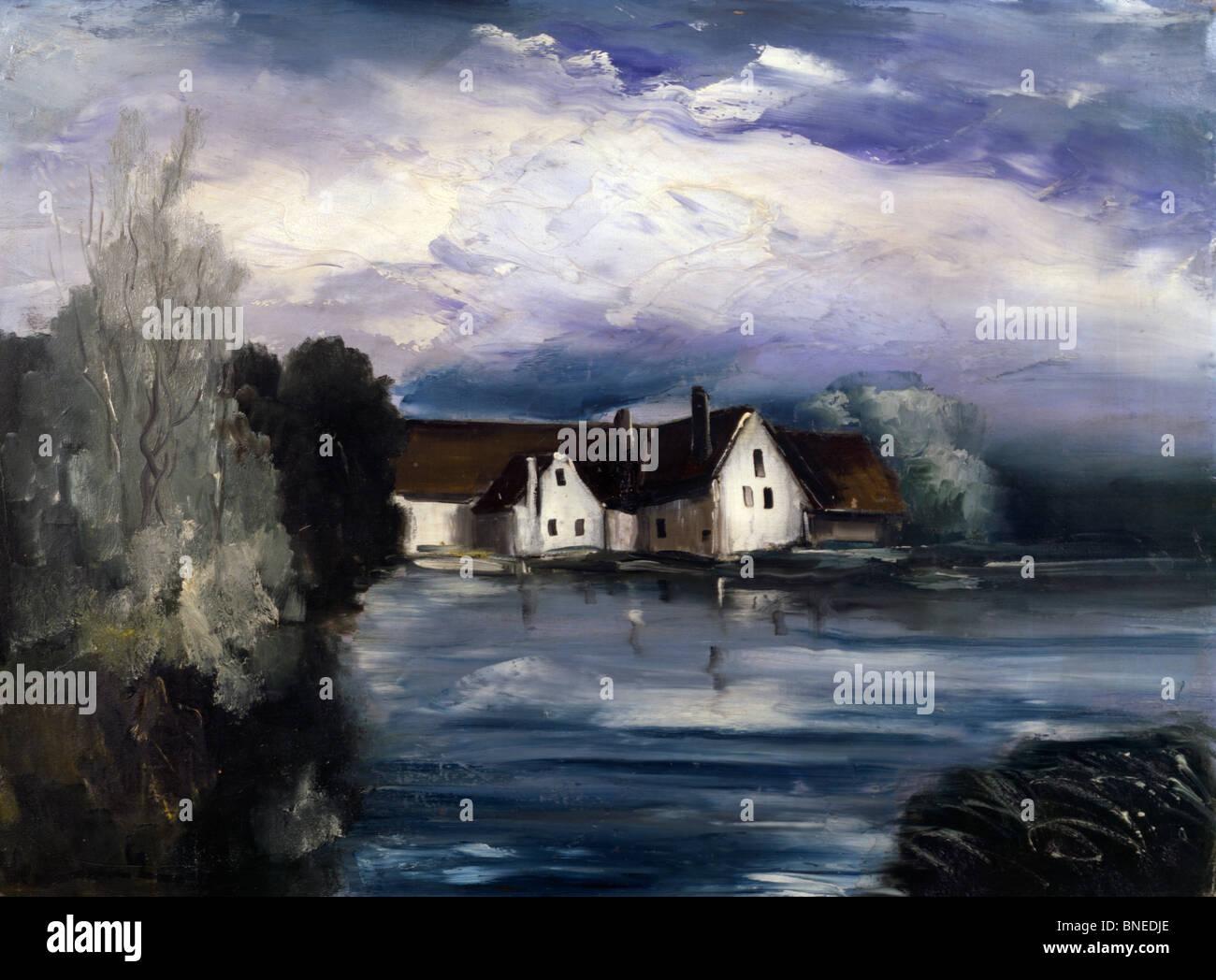 Maisons Bord De L'eau, Vlaminck, Maurice de (1876-1958/French) - Stock Image