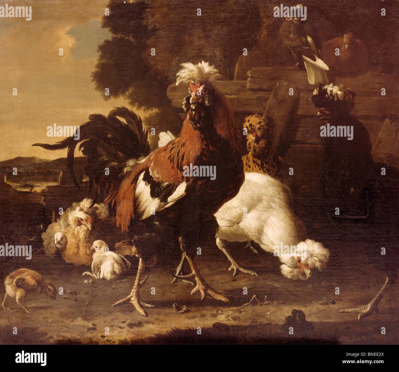 Chicken Yard by Melchior D'Mondecoeter,  (1636-1695) - Stock Image