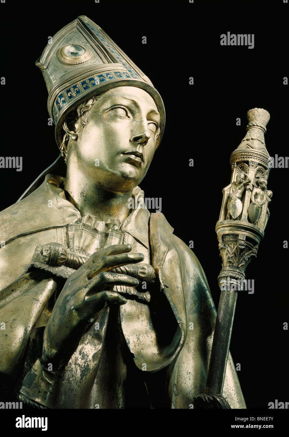 Detail from Saint Louis of Toulouse by Donatello,  (Circa 1386-1466),  Italy,  Florence,  Basilica of Santa Croce - Stock Image