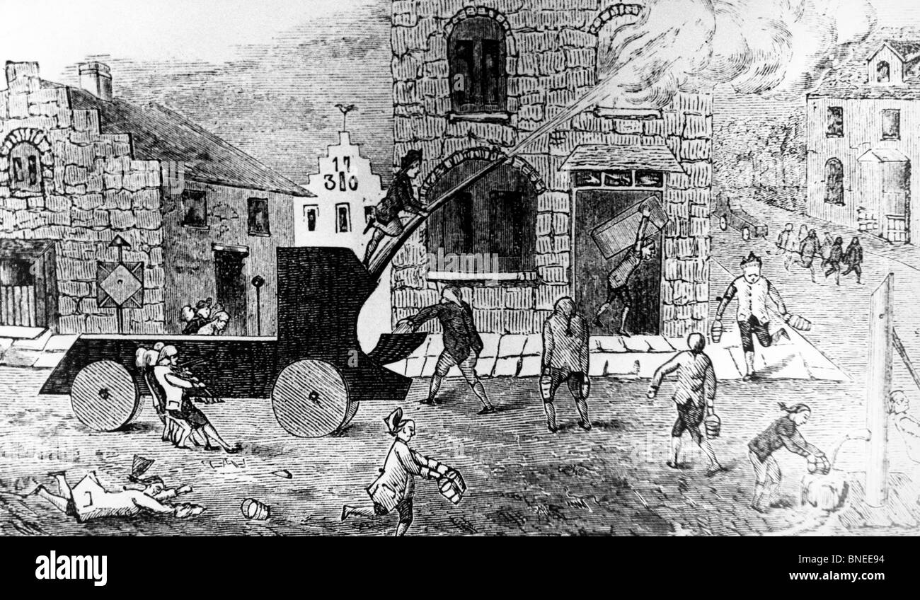 New York's First Fire Engine in Action, December 6, by unknown artist, 1731 - Stock Image