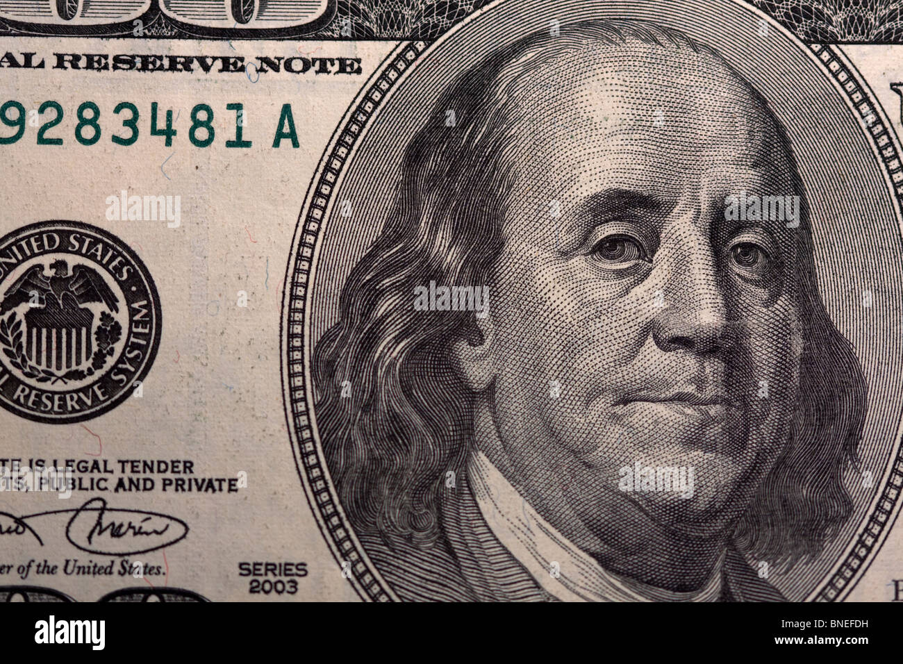 Close Up of Benjamin Franklin on the front of a US $100 Bill
