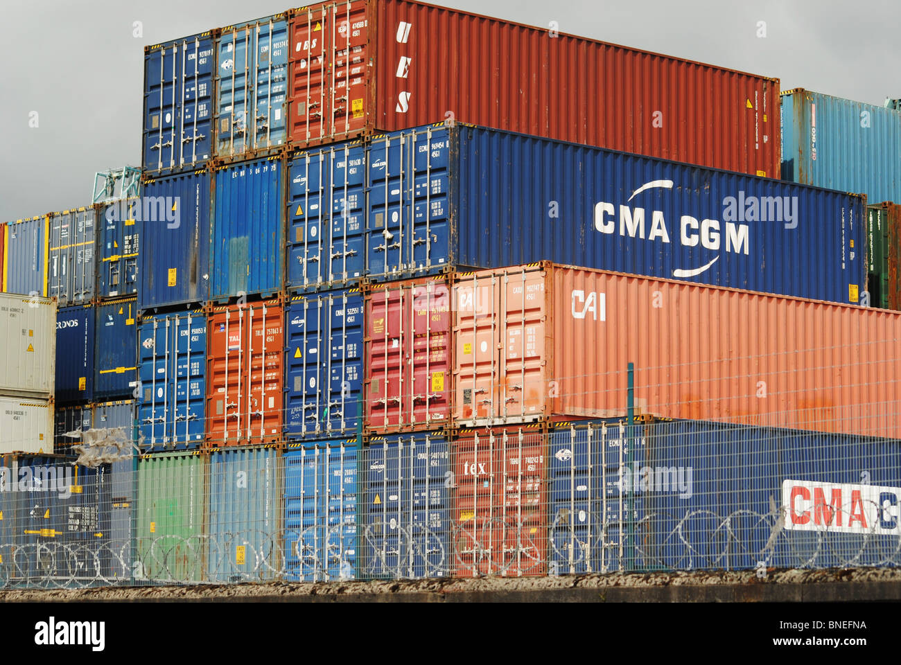 A PIle of Containers. Stock Photo