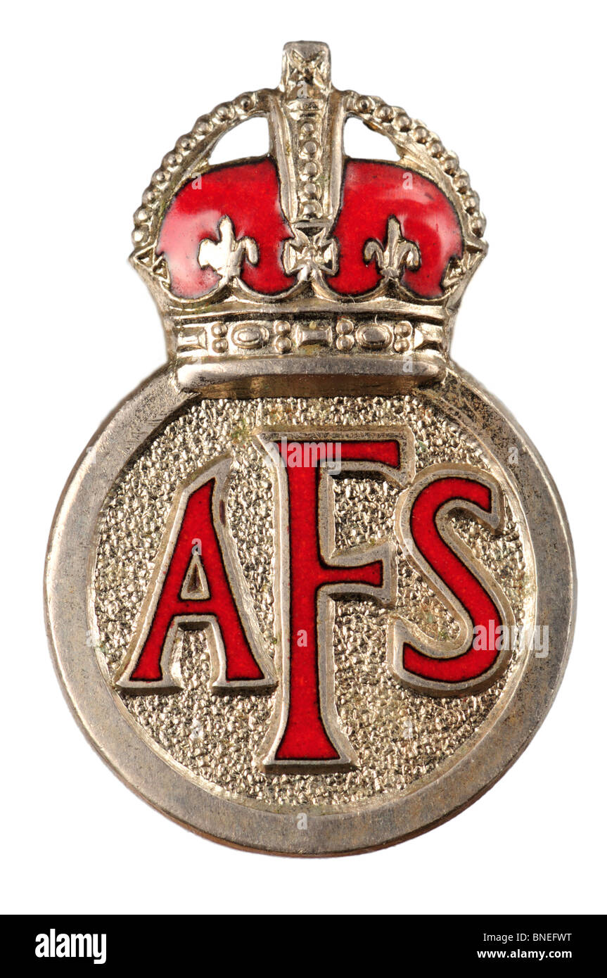 Chrome and Enamel AFS (Auxiliary Fire Service) Badge. Second World War / British - Stock Image
