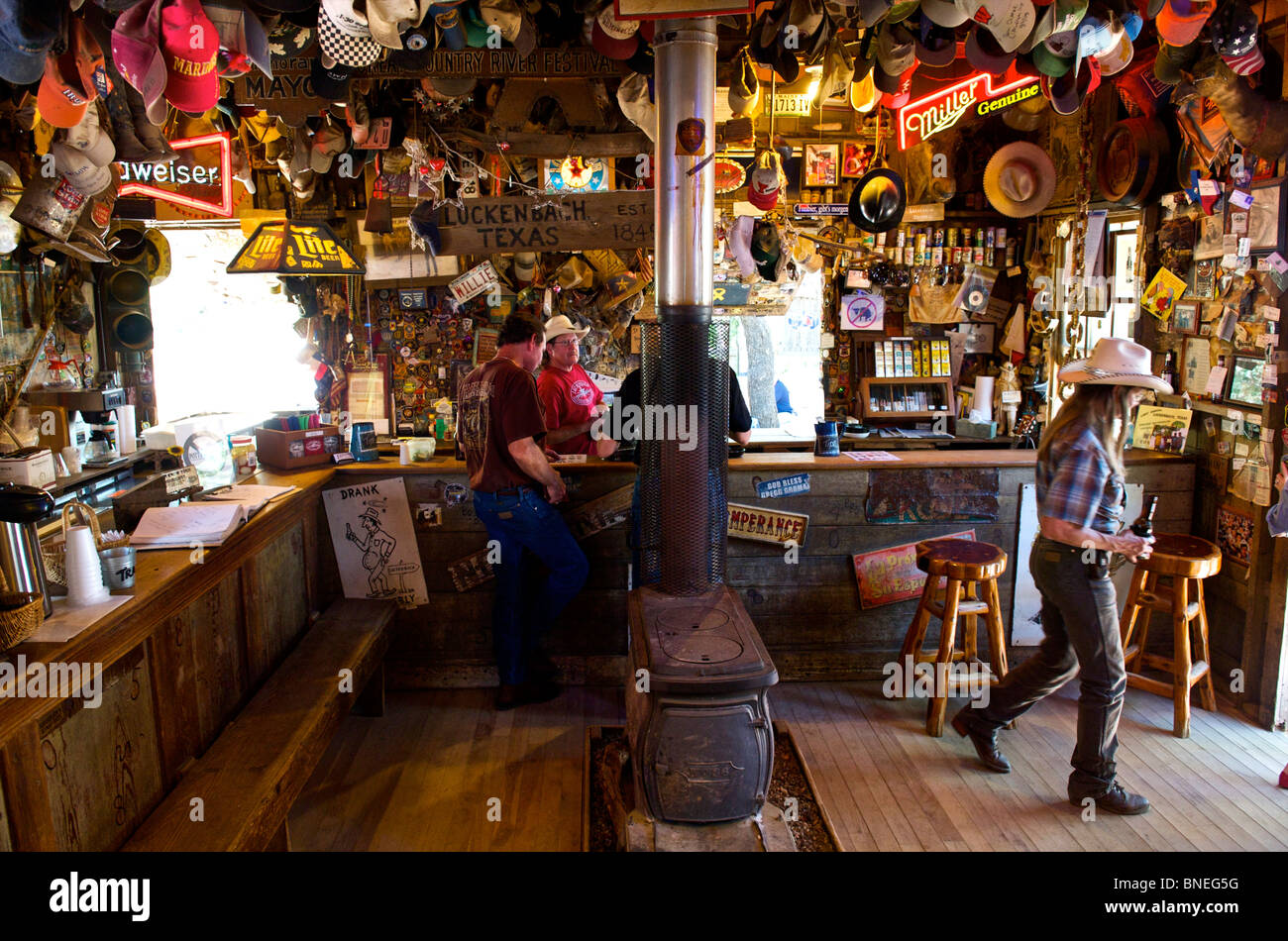 Visitors In The Luckenbach Bar Hill Country Texas, North America, USA Stock Photo