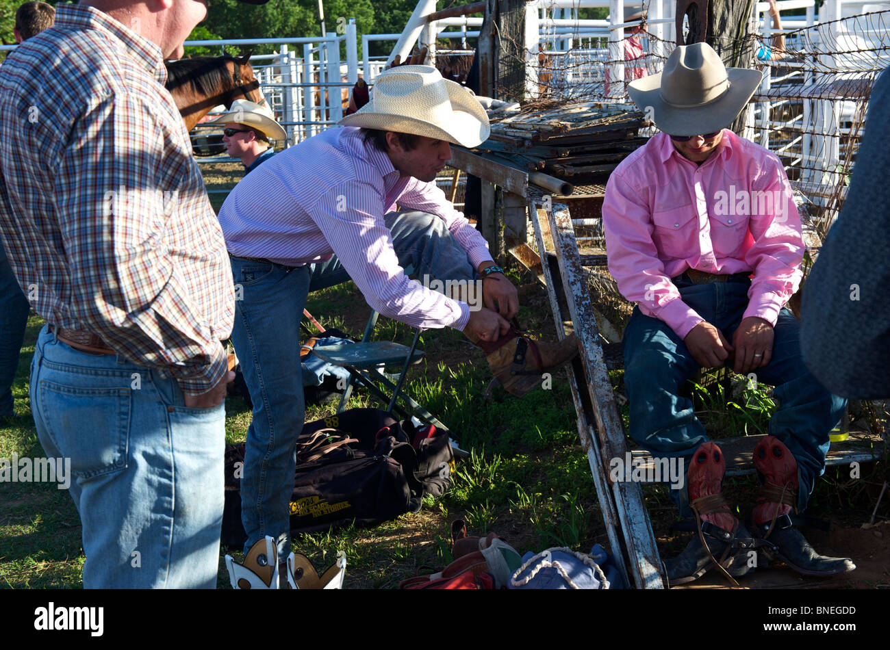 Cowboy members of  PRCA  rodeo event in Bridgeport, Texas, USA - Stock Image