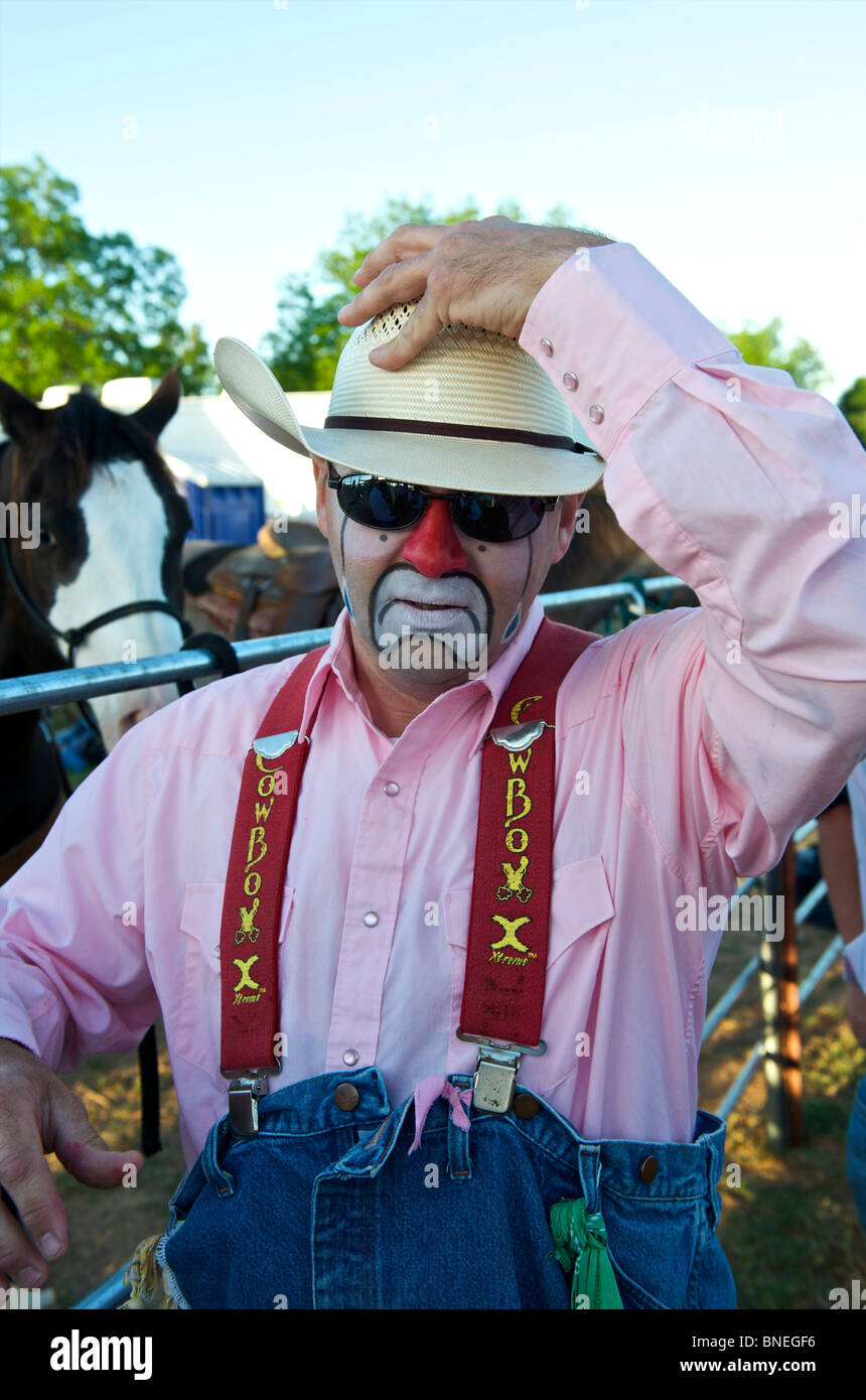 Rodeo Cowboy member of PRCA posing as clown in Smalltown, Bridgeport, Texas, USA - Stock Image