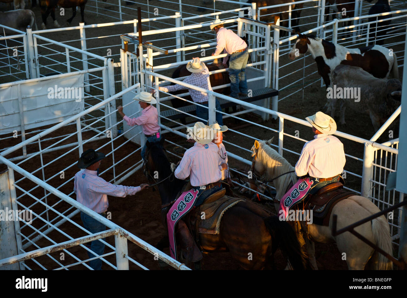 Cowboys members of PRCA rodeo backstage preparing for rodeo event at Smalltown in Bridgeport, Texas, USA Stock Photo