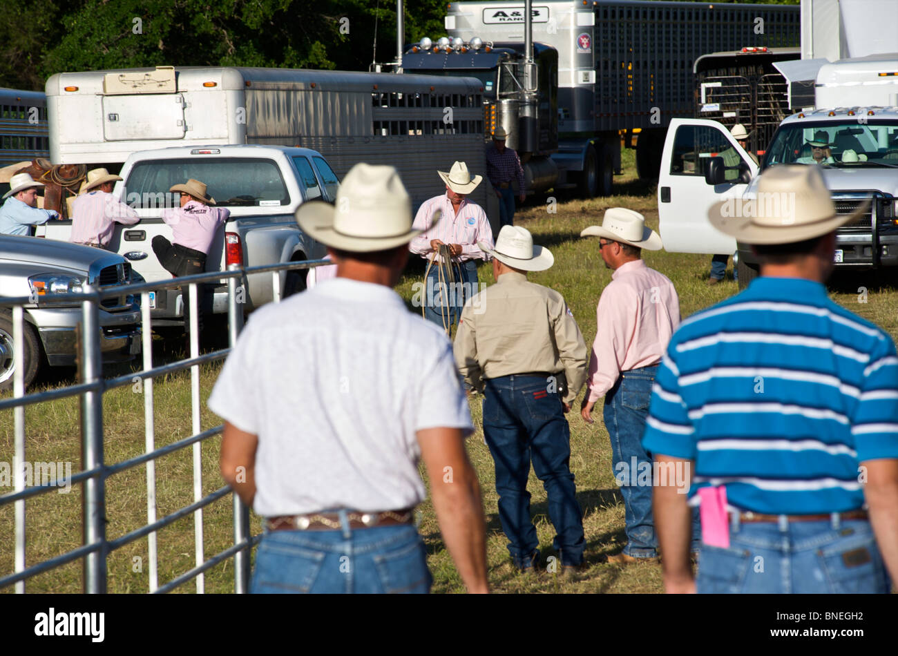 Cowboy members of  PRCA  rodeo event in Bridgeport, Texas, USA Stock Photo