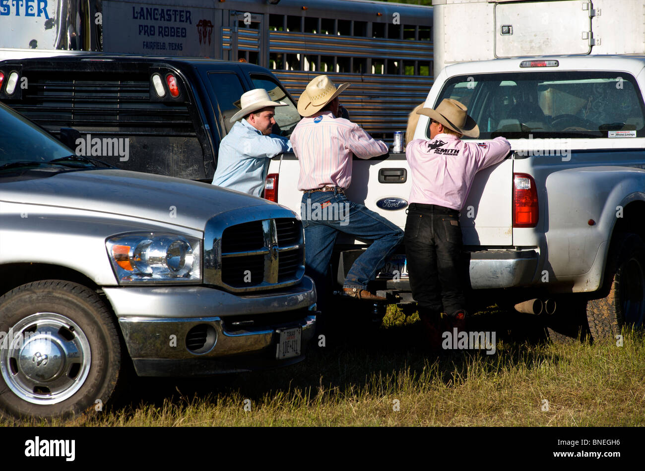 Cowboy members of PRCA gathered for rodeo event in Bridgeport, Texas, USA - Stock Image