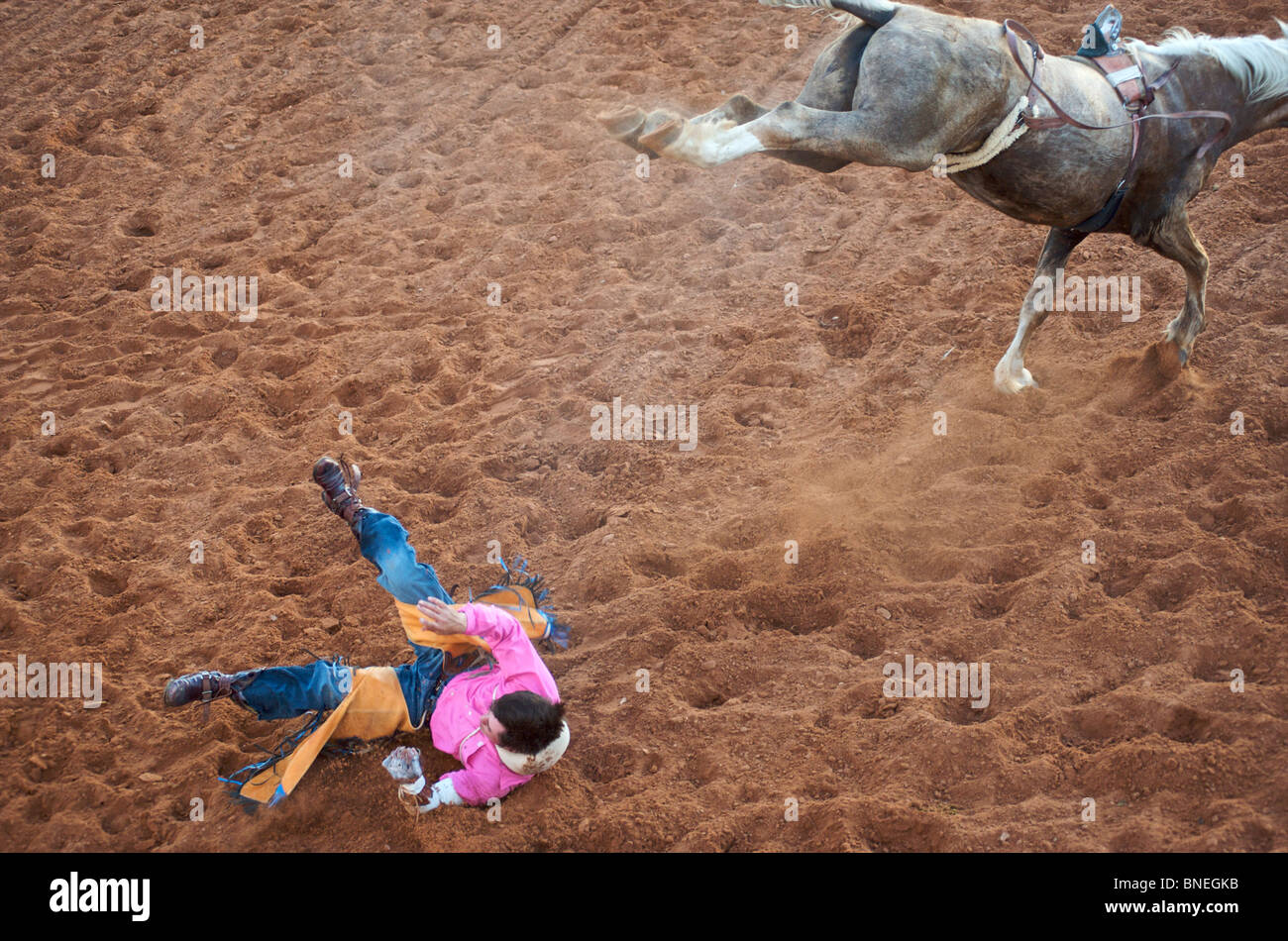 Rodeo cowboy member of PRCA fallen down from back Of horseIn Smalltown Bridgeport Texas, USA Stock Photo