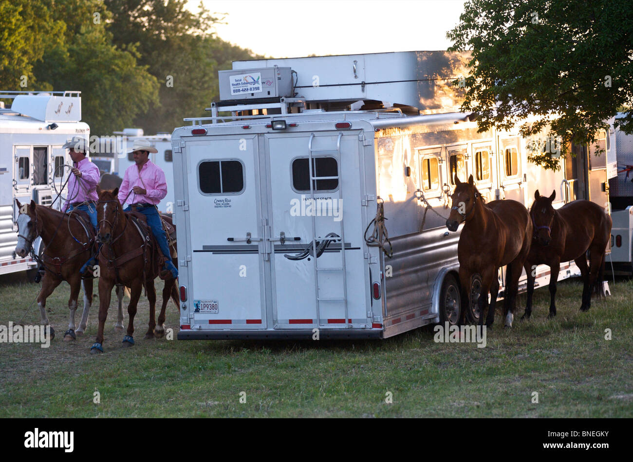 Cowboy members of PRCA riding horses backstage at rodeo event in Bridgeport Texas, USA - Stock Image