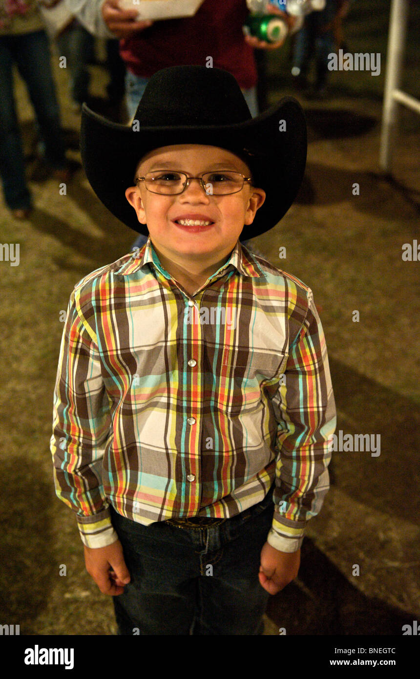 Young cowboy at a small town PRCA rodeo Bridgeport, Texas, USA Stock Photo