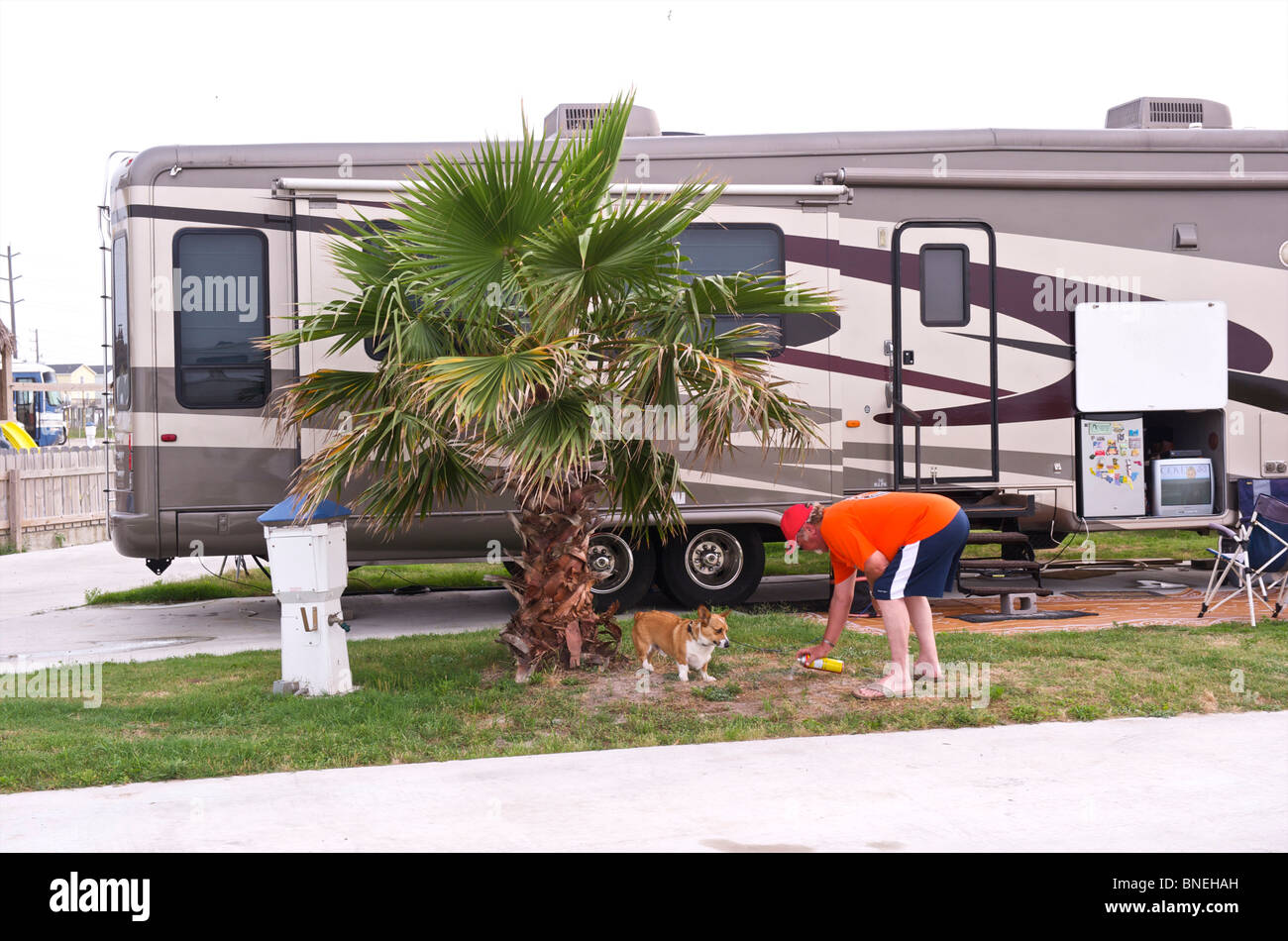 Camper with campervan RV on a campsite camping in Galveston, Texas, USA - Stock Image