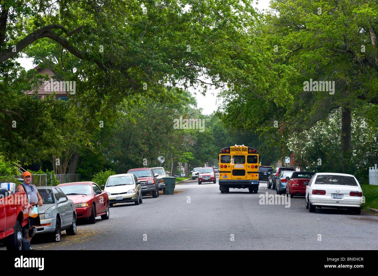 School bus in Suburbs of Galveston, Texas, USA Stock Photo