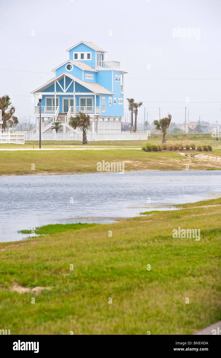 Typical wooden houses architecture Galveston, Texas, USA Stock Photo
