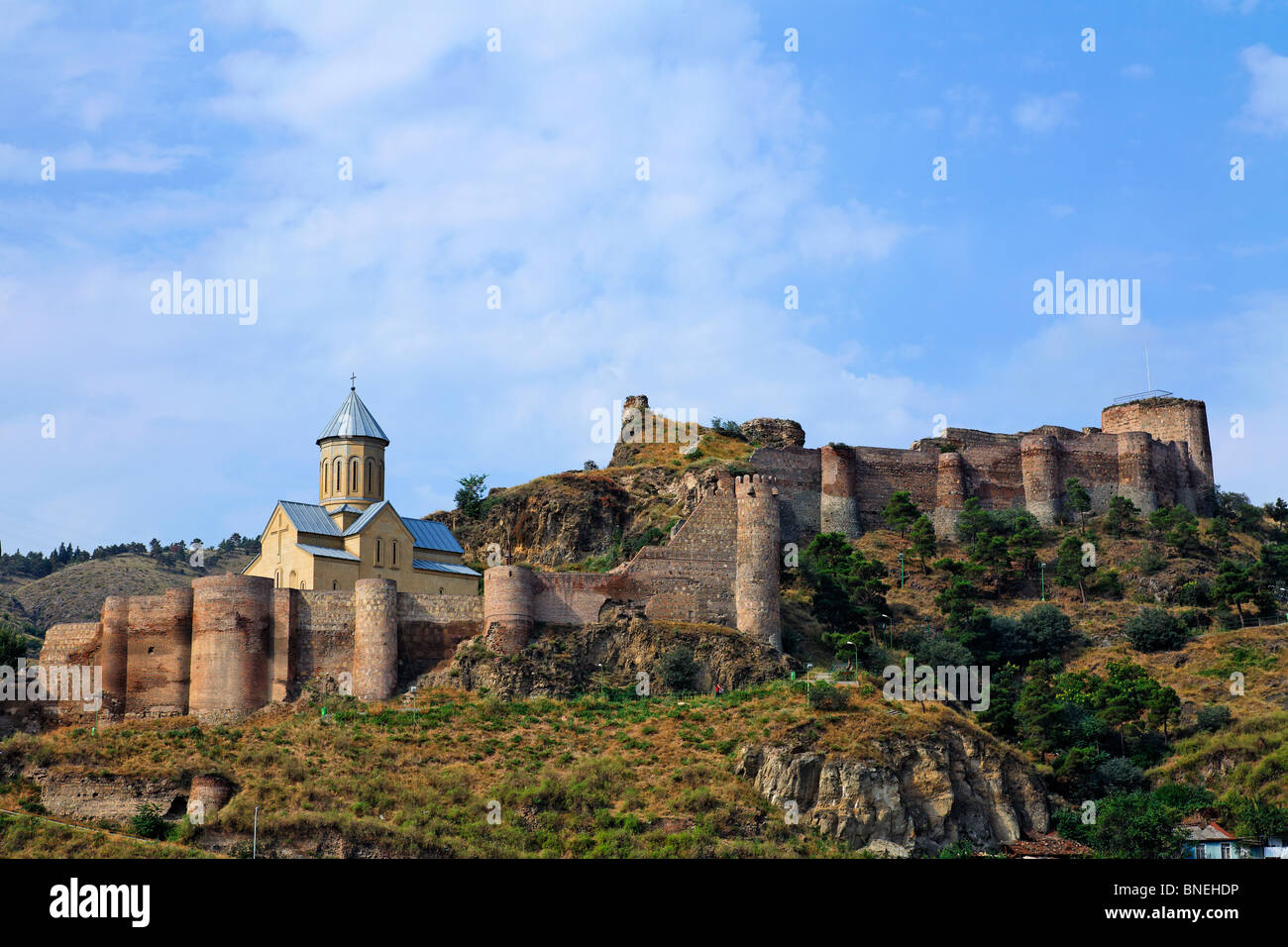 Narikala Fortress and the church of St Nicholas, Tbilisi, Georgia Stock Photo