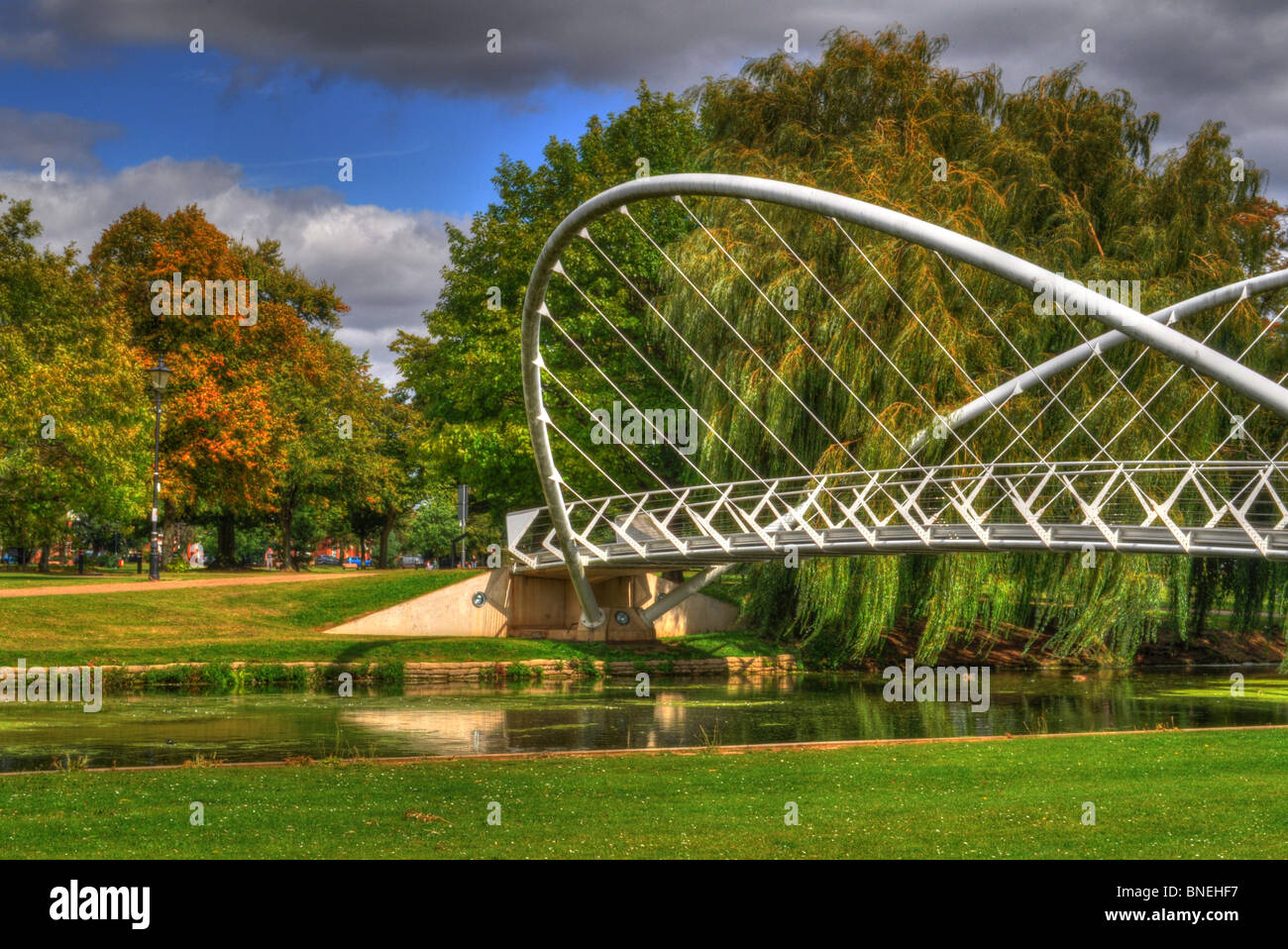 An HDR photo of Bedford Butterfly Bridge - Stock Image