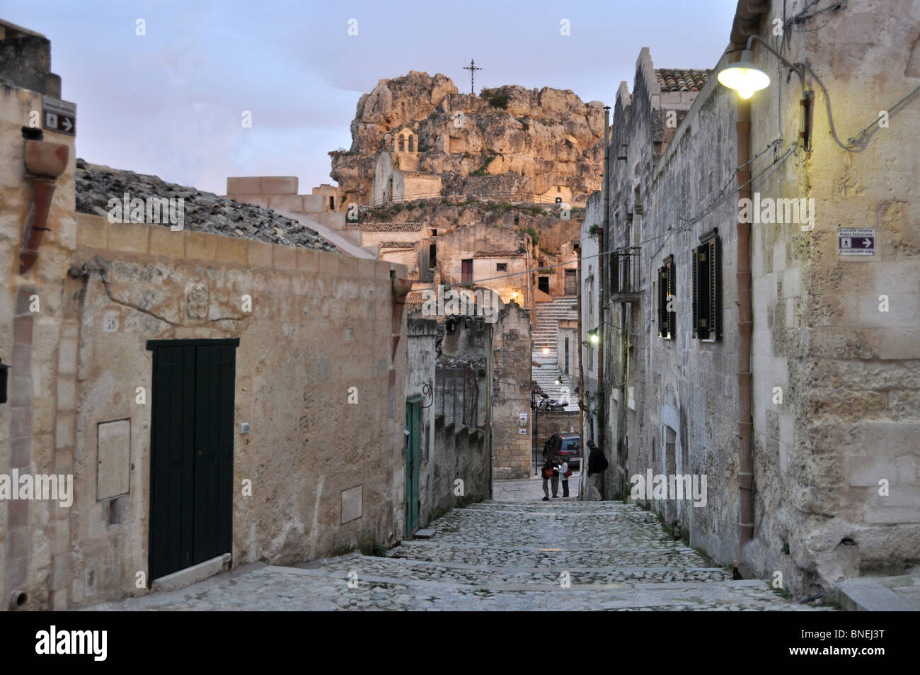 Sundown on a Characteristic stairway in Matera Sassi Basilicata Italy - Stock Image