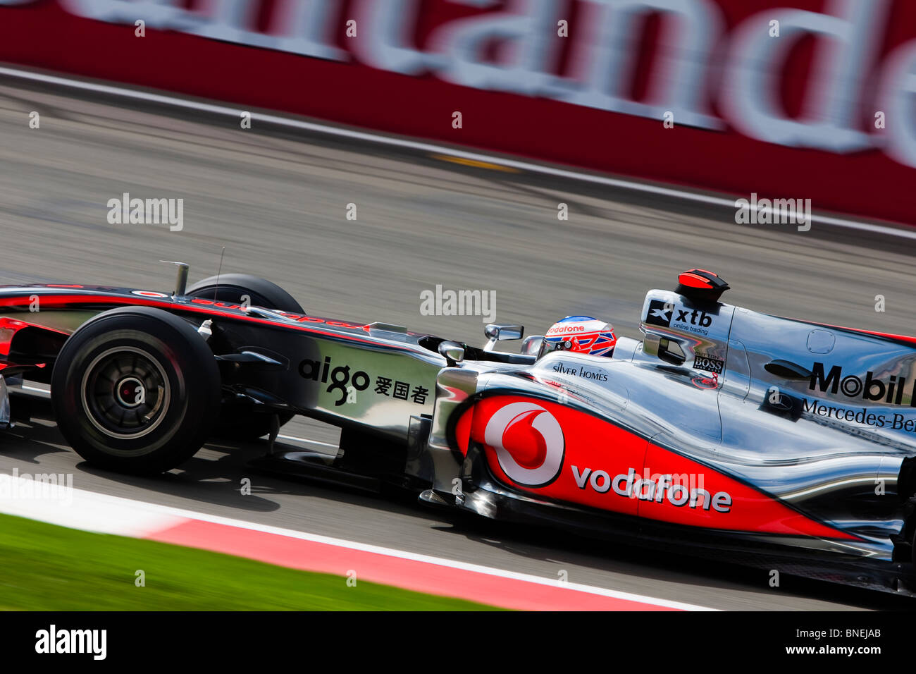 163ea4ff43a Jenson Button at speed Silverstone UK 2010 Mercedes Mclaren england UK -  Stock Image