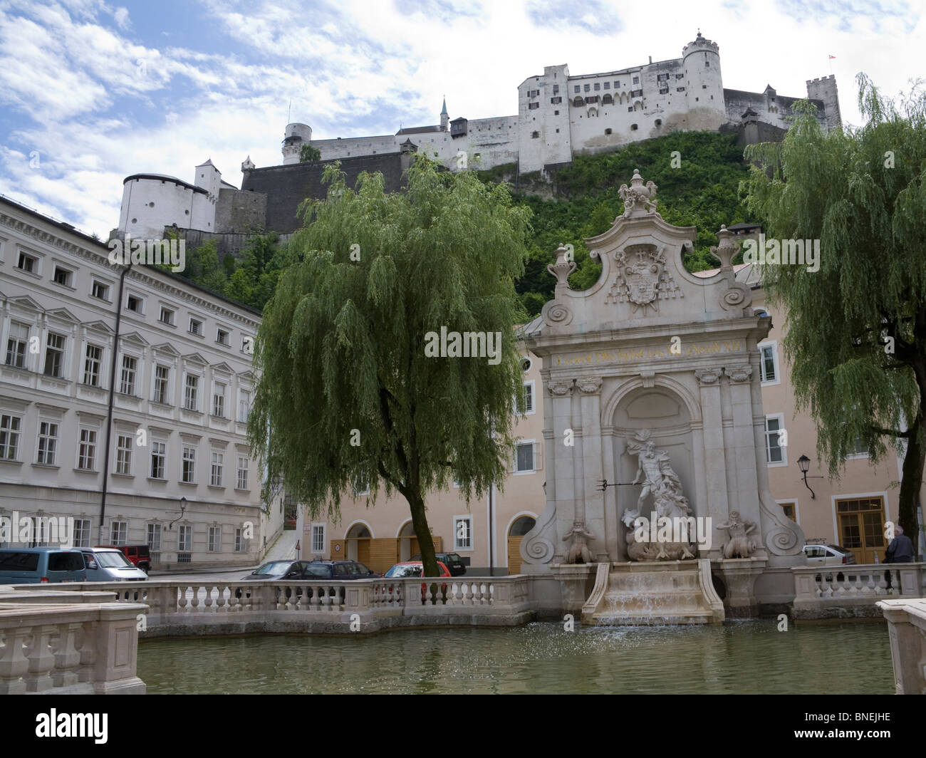 Salzburg Austria EU Kapitel horse pond in front of Hohensalzburg Fortress - Stock Image
