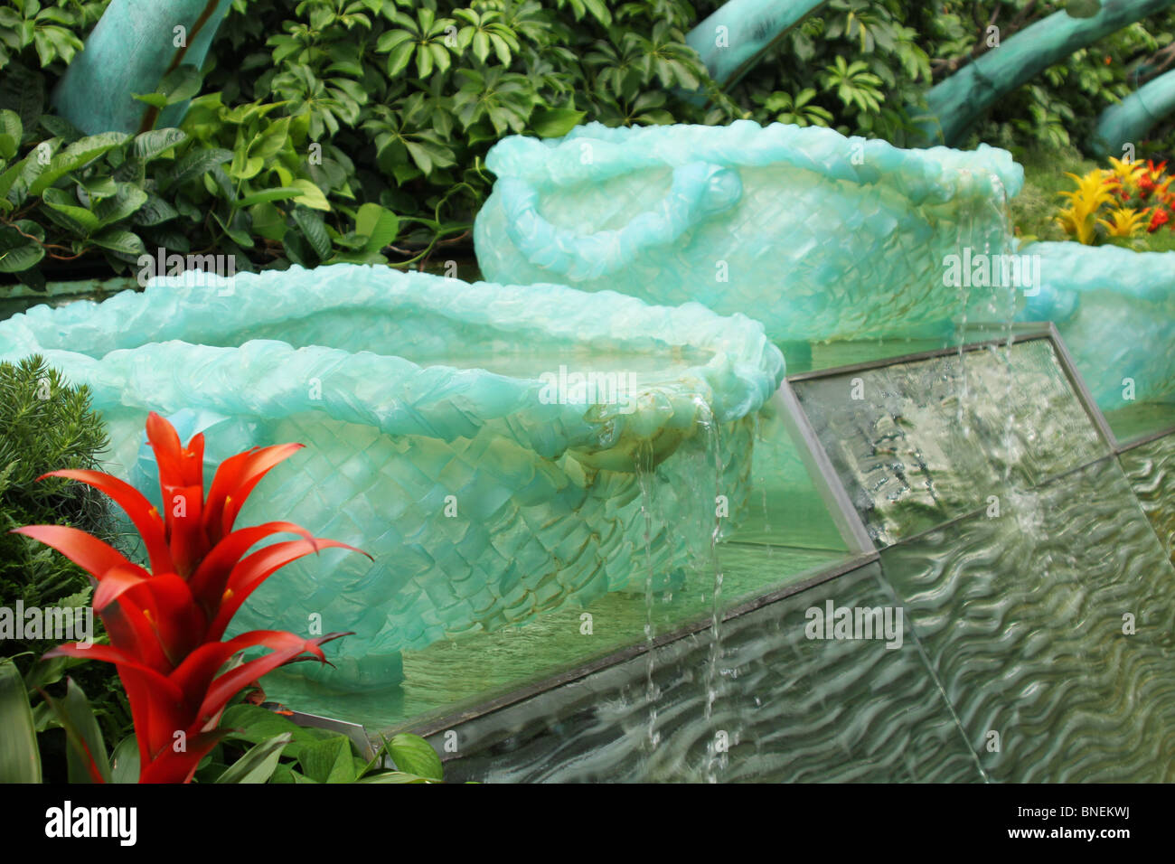 Water Fountain Basket carved from Jade Stone. - Stock Image