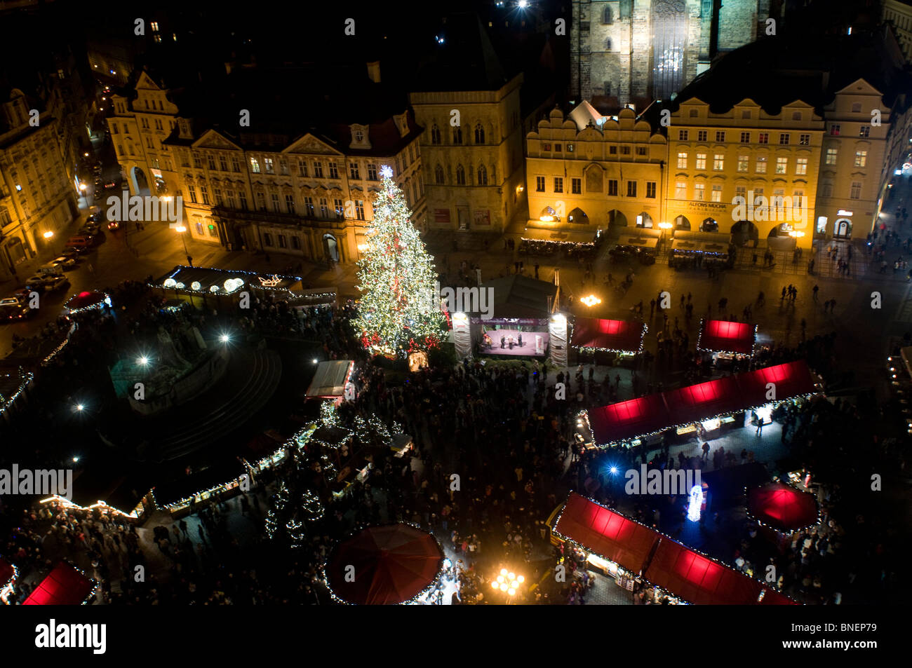 The Christmas market in old town square Stare Mesto. Prague Czech republic - Stock Image