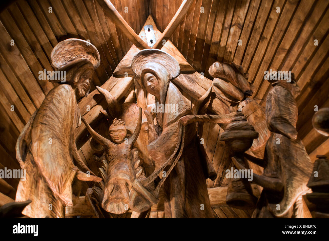 Christmas woodwork decoration in Czech republic - Stock Image