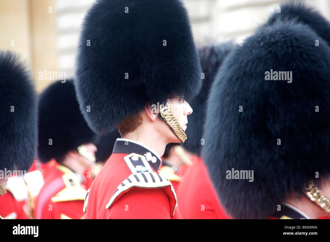 Trooping the Colour 12th June 2010 Guardsmen lined up in courtyard of Buckingham Palace London England UK - Stock Image