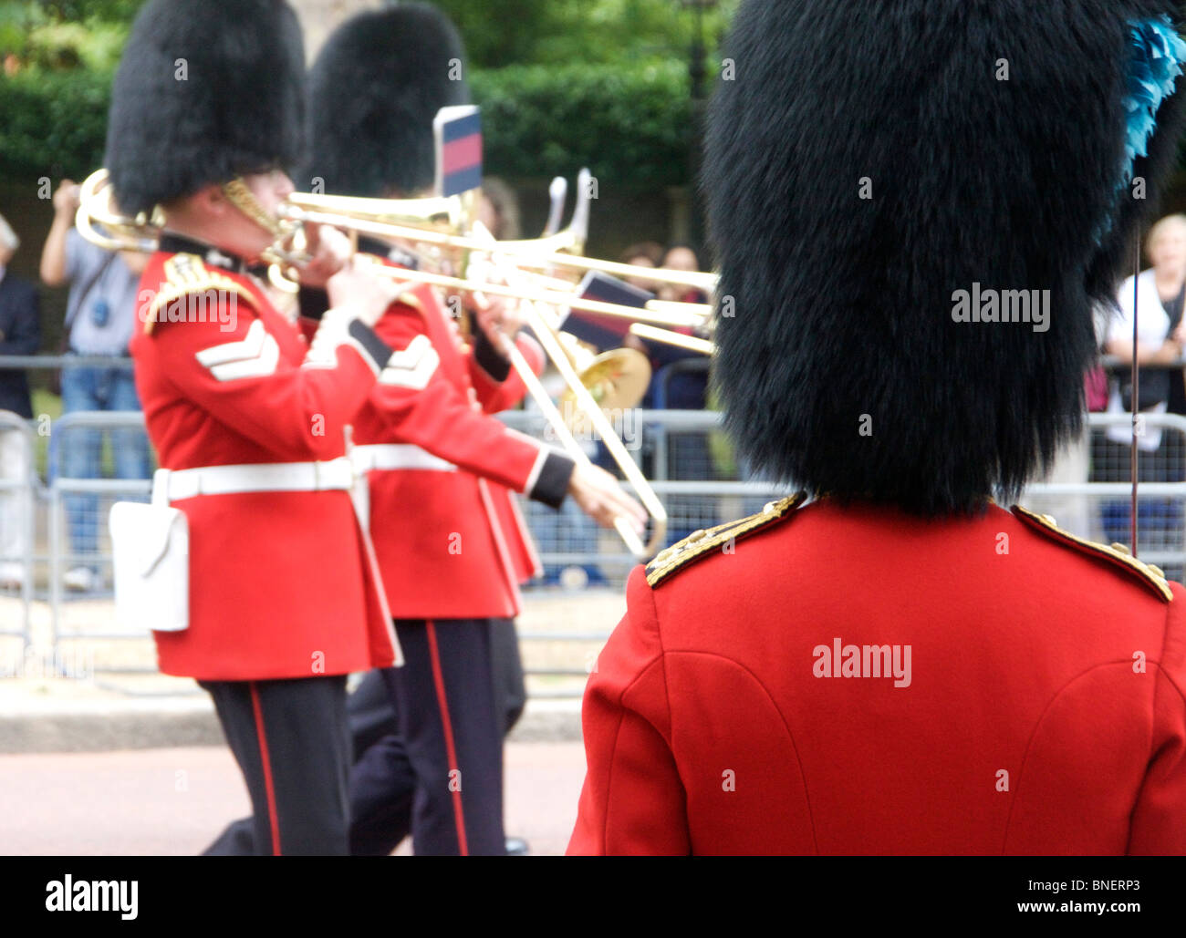 Trooping the Colour June 2010 Irish Guardsman with marching band on the Mall London England UK - Stock Image