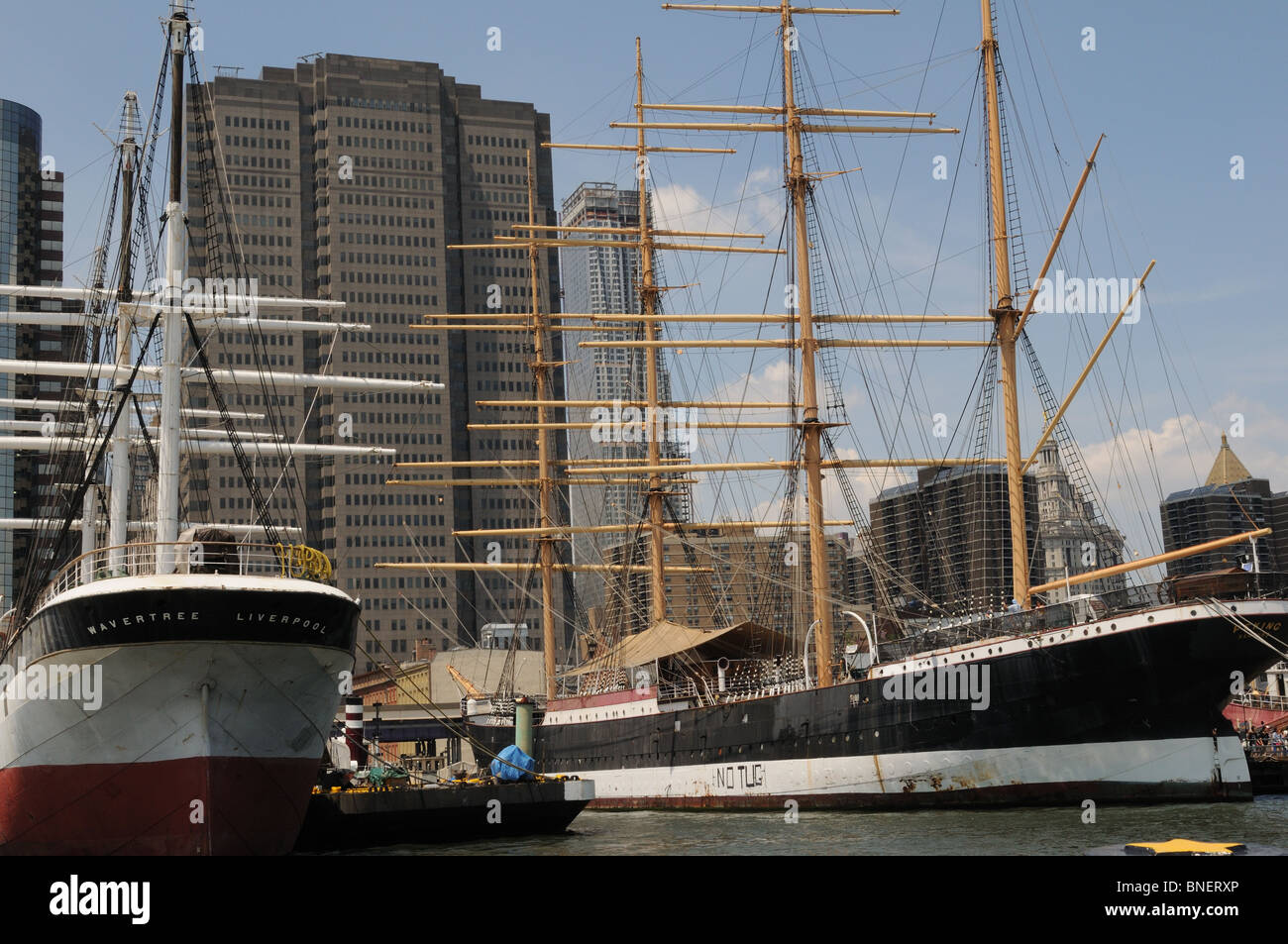 Two historic sailing ships, the Wavertree and the Peking are moored in the South Street Seaport in Lower Manhattan. - Stock Image