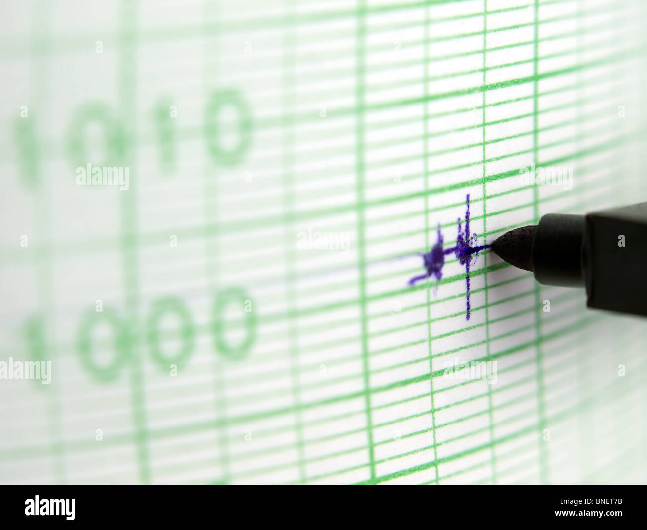 macro shot of a needle drawing the blue line ,showing weak erratic signal on the graph paper ,shallow DOF - Stock Image
