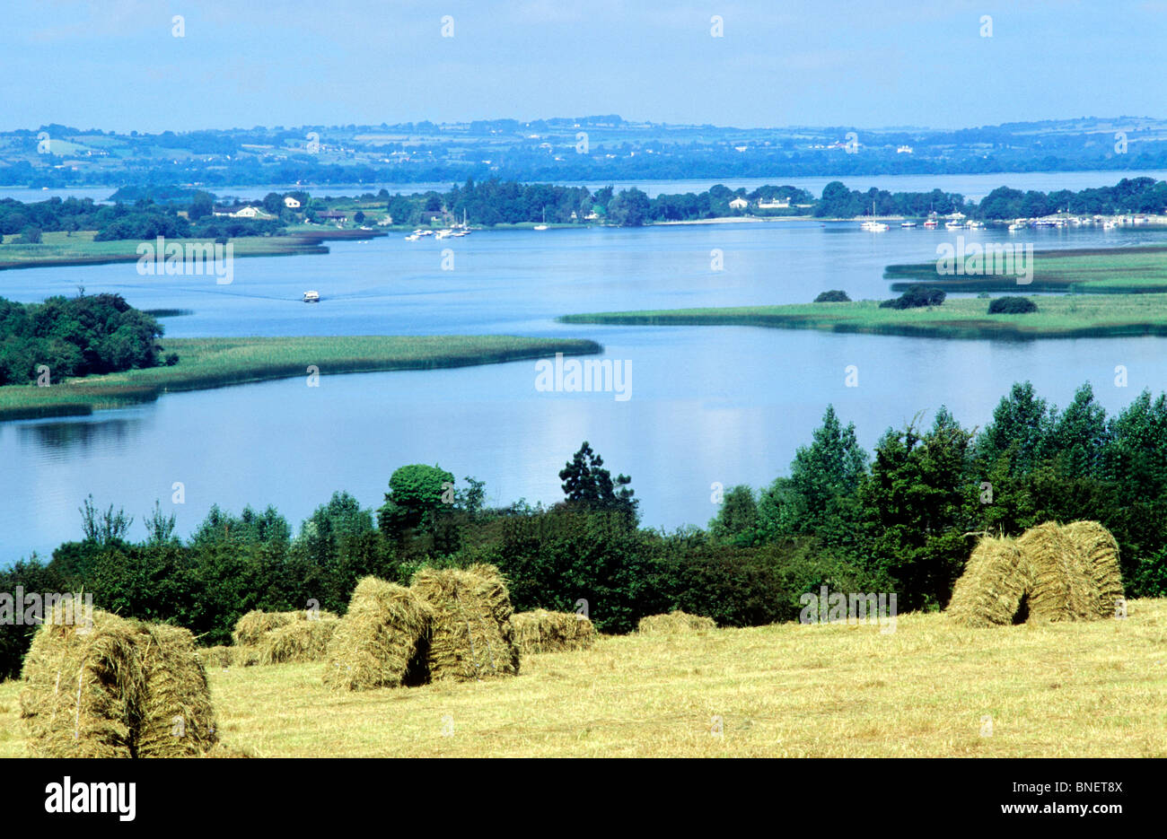 Lough Ree, County Westmeath, Ireland Eire Irish lake lakes loughs haystack haystacks - Stock Image