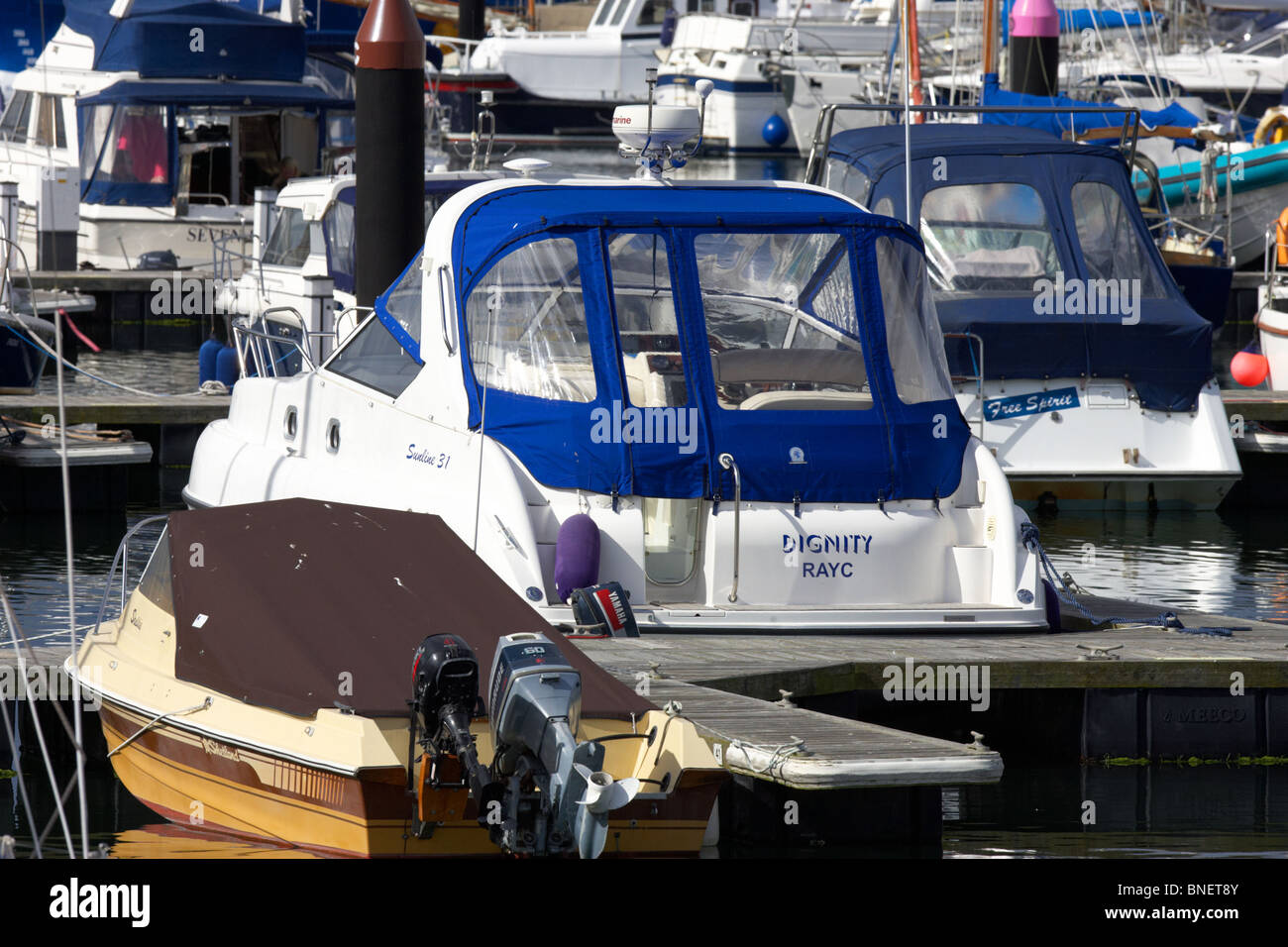 speedboats and boats berthed in bangor marina county down northern ireland uk - Stock Image