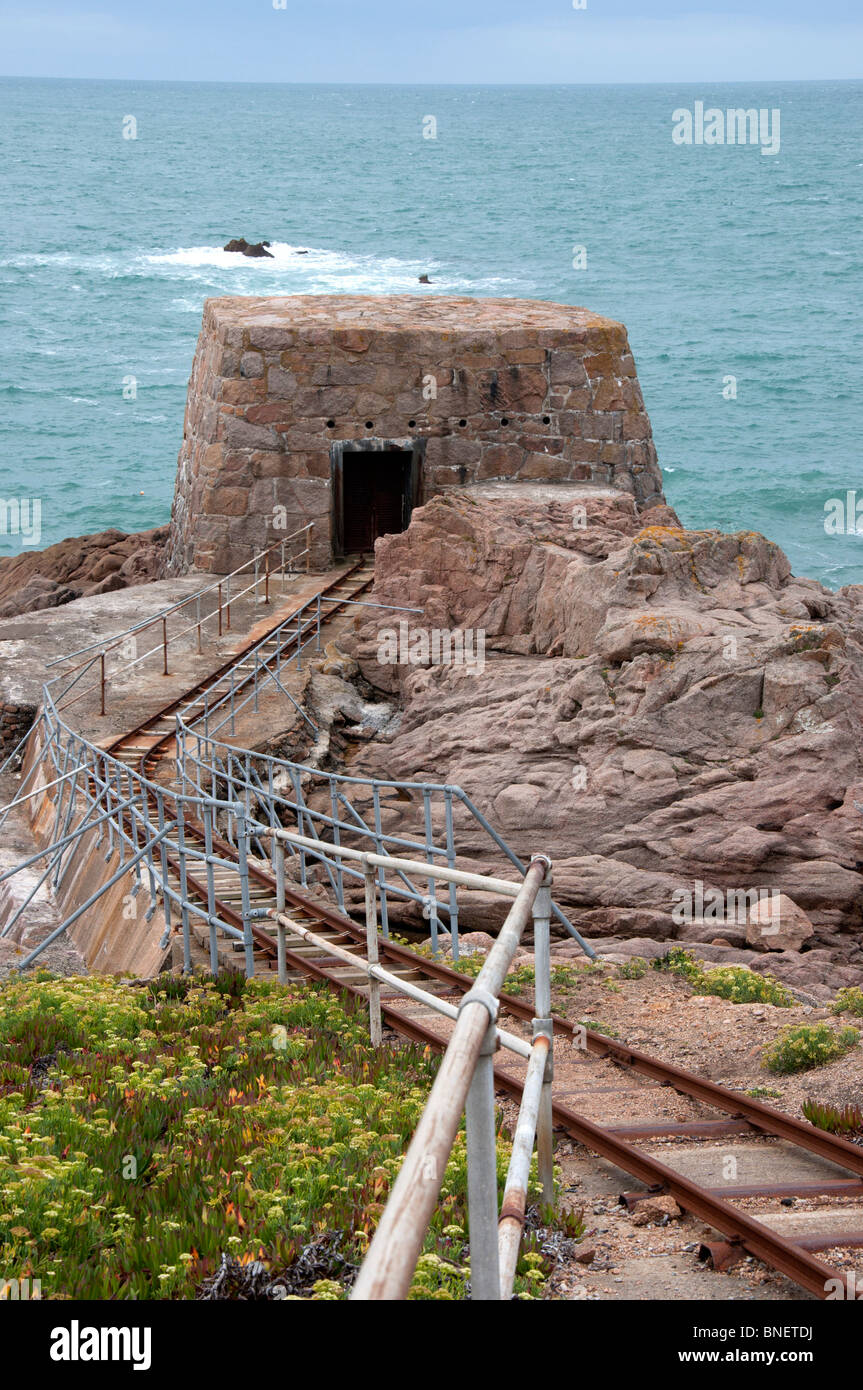 German fortifications, Fiquet Bay, Jersey - Stock Image