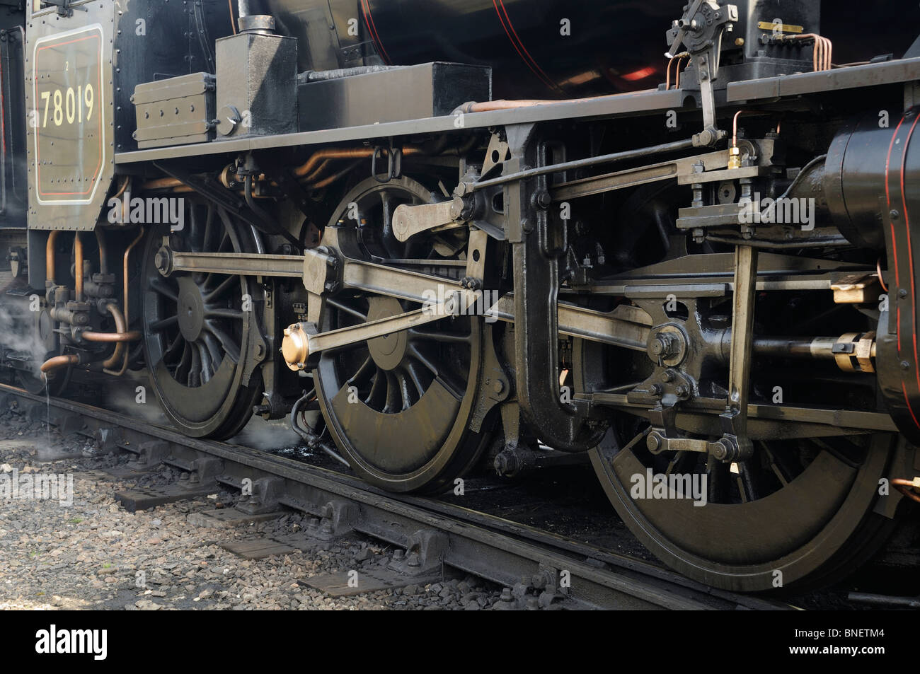 Mechanical drive rods on a steam loco Stock Photo