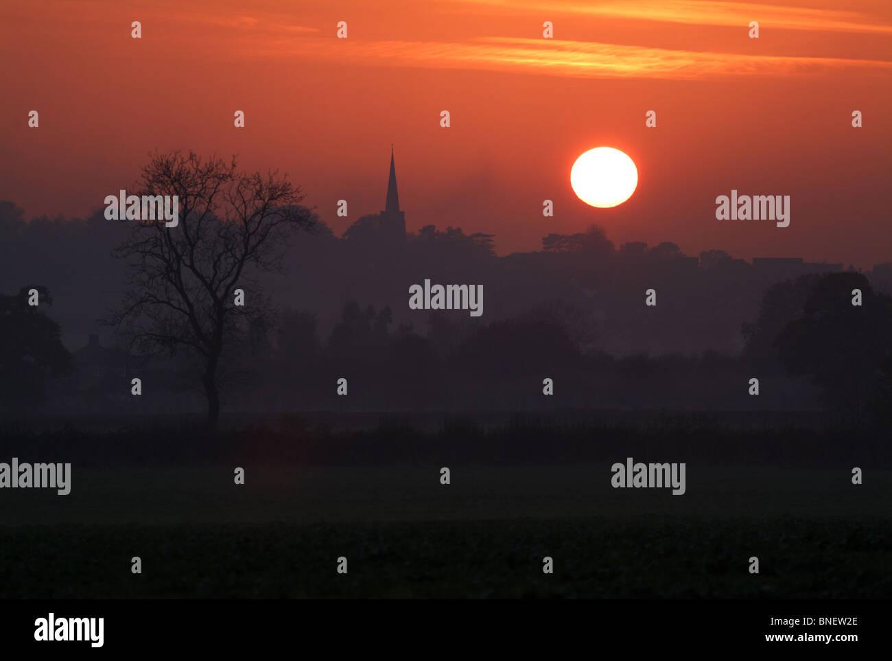 Sunset Over Aston Flamville Village