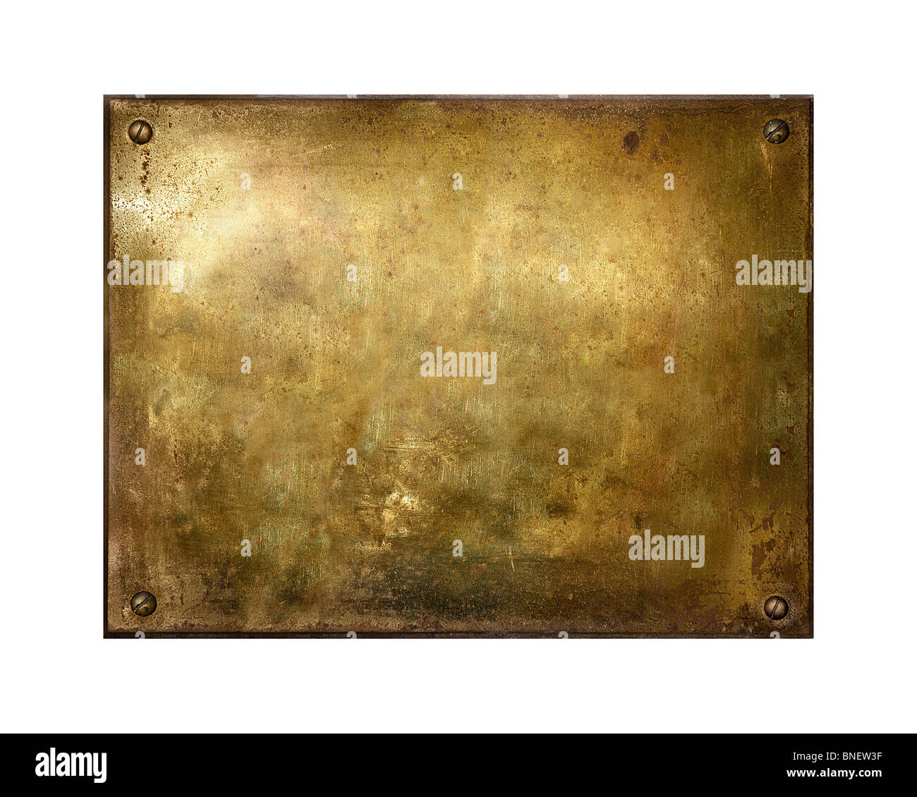 Grungy brushed yellow metal brass plate with screws - Stock Image