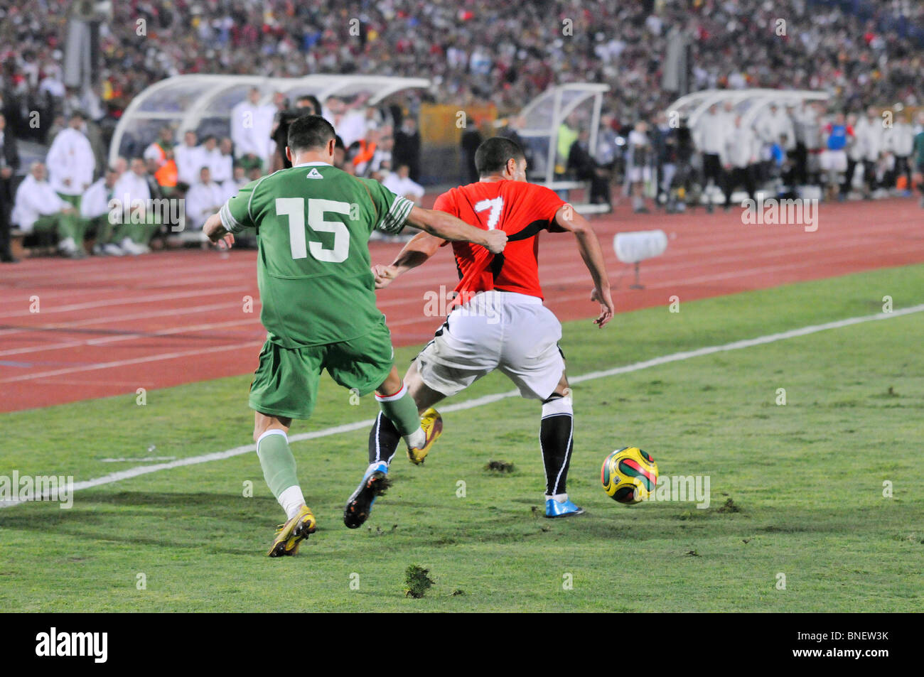 The infamous Egypt vs Algeria WM qualification match in Cairo's international stadium that ended 2:0 - Stock Image