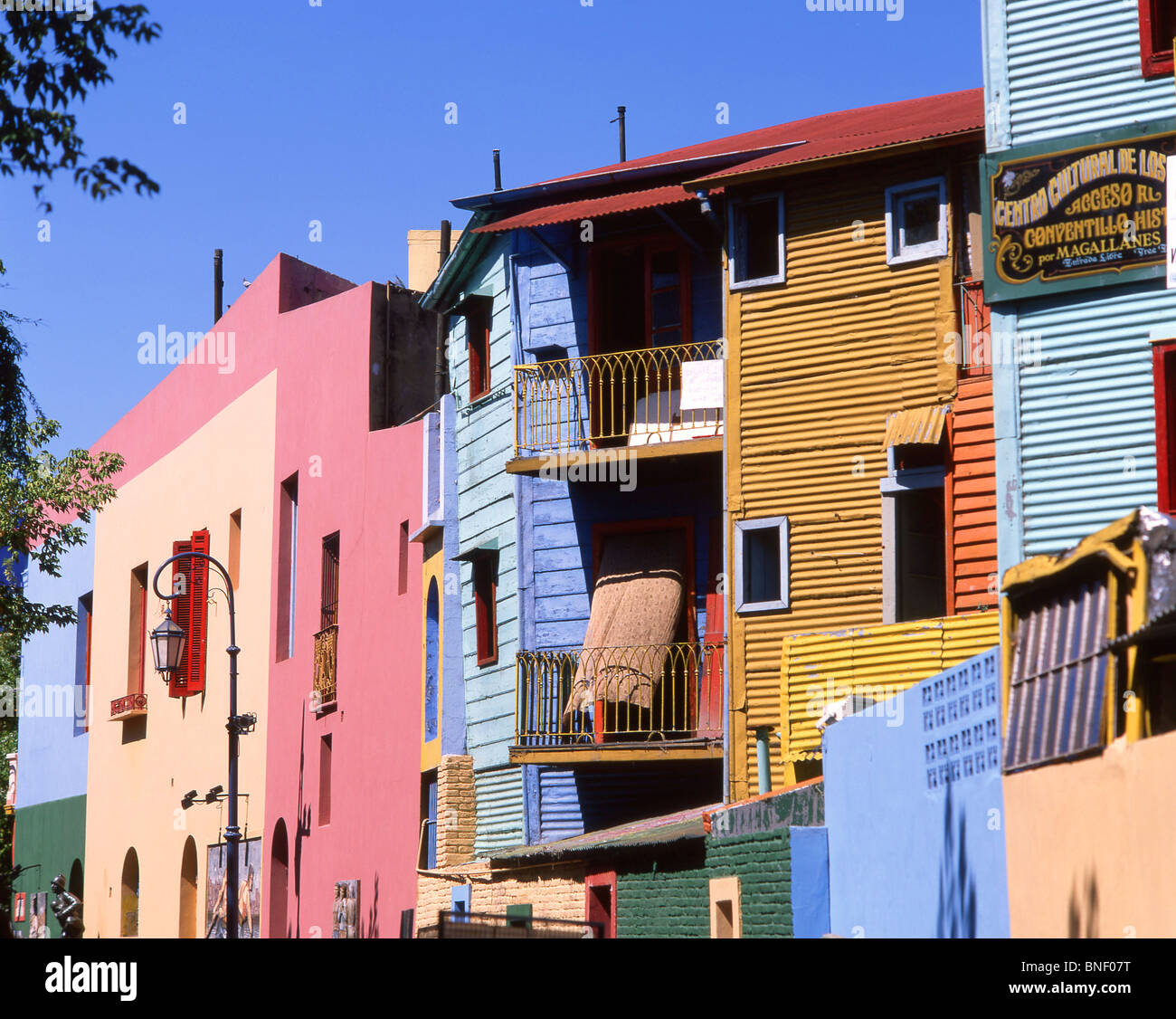 Pastel-coloured buildings, Caminito Street, La Boca, Buenos Aires, Argentina Stock Photo