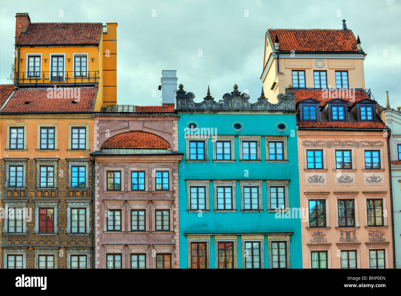 Colourful old houses / buildings in Warsaw, Poland - Stock Image