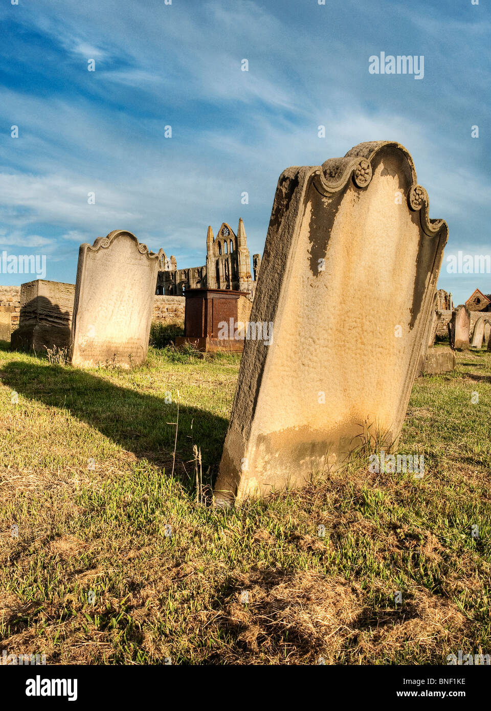 St. Mary's church graveyard Whitby, with the abbey in the background Stock Photo