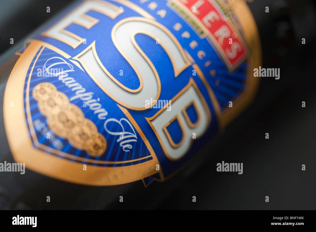 Fullers ESB beer bottle label, closeup - Stock Image