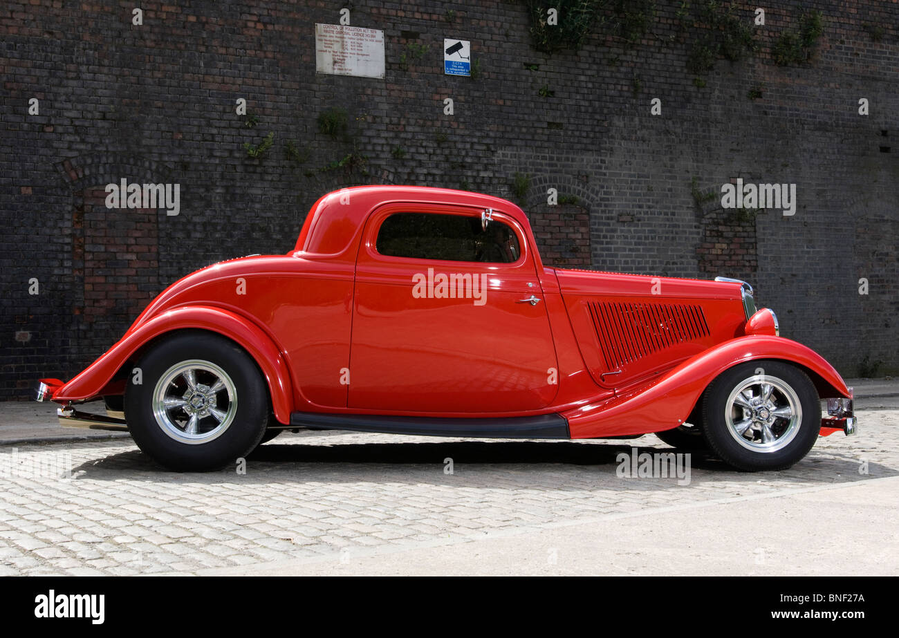 34 Ford Hot Rod - full fendered 3 window chopped roof coupe Stock ...